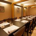 人気のテーブル式和室個室。大人数での会食やご宴会に大変ご好評頂いております。室料無料でご案内させて頂いております。