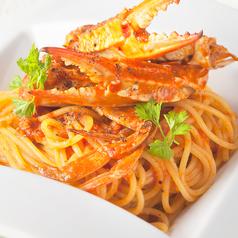 料理メニュー写真渡り蟹のオーロラソースパスタ