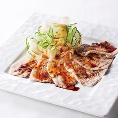 蒸し三元豚の重慶式ガーリックソース