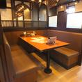 4~6人様でご利用頂けるテンーブルのお席です。会社帰りにお食事やご友人同士のご宴会に最適です!お気軽にお立ち寄りください!
