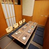 8名様までOKの掘りごたつ個室。プライベートの宴会に使いやすい中団体個室です。