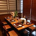 【個室テーブル席:6名様】完全プライベートの空間のお席。接待や顔合わせ、ご友人同士とのお食事会に。周りを気にせずに、お楽しみいただけます!