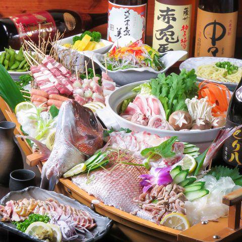 【ボリューム満点!】あったか鍋&刺盛付き!とり八コース◆3500円(税込) ※お料理のみ