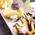 料理メニュー写真とろーりチョコのフォンダンショコラ バニラアイス添え/3種の抹茶最中