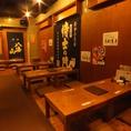 """【北千住3分】×【焼き鳥】 """"和""""のテイストの店内 石畳の通路を抜けると、店前の外観からは想像出来ない広々としたお座敷席がございます。"""