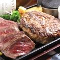 お好みのステーキ×ハンバーグのコンボメニュー!