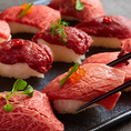 柔らかく、口に入れた瞬間にジュワッと脂が溶け出す今大人気の肉寿司!!女子会でも大人気なメニューとなります!