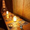 【10名席】席が離れ離れになる心配のない10名様が一つのテーブルを囲んで座っていただける掘り炬燵式個室です。お洒落な雰囲気の個室は様々なご宴会を華やかに演出いたします。落ちついた雰囲気は大人のご宴会にも人気の個室です。ご予約お待ちしております。