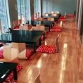 座敷席のレイアウトをご紹介!また、テーブル席は立食パーティーにも使用できます!
