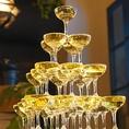 貸切特典!!シャンパンタワー無料でご準備♪贅沢な乾杯の演出にいかがでしょうか