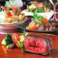 【宴会コース】Wメイン!熟成牛クラシタステーキ&プレミアム黒豚しゃぶしゃぶ宴会コース120分飲み放題付5000円(税抜/要予約)シェフのこだわりコースをご堪能ください。