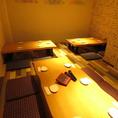 15名~20名様用の完全個室、お座敷席になります!床と壁のタイルがそれぞれ違う、オシャレな雰囲気の個室です!【天文館 二次会 飲み放題 食べ放題 個室 ソファ カラオケ サプライズ 宴会 せんべろ】