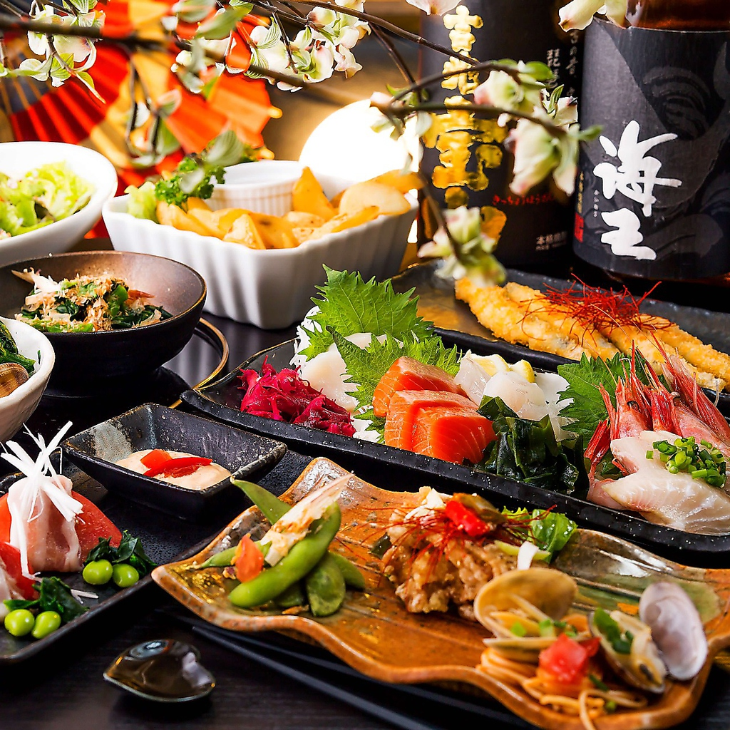 自慢のコース料理にたっぷり2.5時間飲み放題が付いたプランは3000円~ご用意しております。