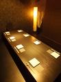 <8名様用掘りごたつ半個室&18名様個室>間接照明が照らす和モダンな空間。