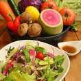 顔が見える安心のお野菜、直営農家さんが育てたフレッシュな野菜が食べ放題!野菜で作られた添加物なしの自家製ドレッシングでどうぞ!