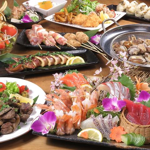 【月〜木限定】漁師直送刺身4種と貝のガンガン焼き、焼鳥付[コース]10品+120分飲放付3500円