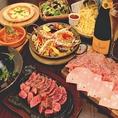 生ハムの盛合せや牛ハラミのステーキなど、パーティメニューにピッタリのコースもございます。