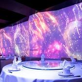 円卓テーブル席、接待やデートにもおすすめ、プロジェクションマッピング投影のSNS映えの雰囲気