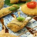 料理メニュー写真(串揚げ)ウインナー/うずらの卵/豚バラ肉/キス/伊達鶏むね肉/エリンギ肉巻き