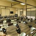 座椅子がついたお座敷個室は最大60名様ほどまで利用可能