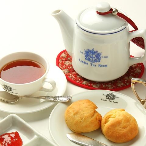 本格的な英国紅茶と英国の雰囲気を味わえる。スコーンはこだわりのオリジナルレシピ♪