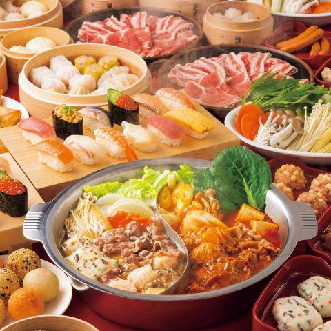 【ディナータイム】しゃぶしゃぶ&寿司&飲茶食べ放題3058円(税込)