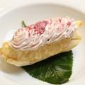 料理メニュー写真【コース料理】 桜アイスと葉のクレープ包み、桜餡のムース