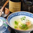 【オススメ食べ合わせ!3選】(3)シュヴロ・ブルゴーニュ・ピノノワール×白身魚の卵真丈 湯葉包み・・・さっぱりとした組み合わせの中にもエレガントな組み合わせです!