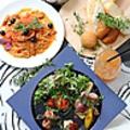 料理メニュー写真サラダ+スープ+メイン+ドリンク