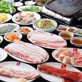 李朝園のサムギョプサルは、赤ワインをベースに、香味野菜や果物などをブレンドした特製のつけだれに漬け込んだ豚肉を使用しています。肉の旨みを引き出し、やわらかでコクのある味わいに仕上げた美味しいお肉をご堪能ください。サムギョプサル、自慢のスントゥブ、冷麺、デザートすべて食べ放題です。
