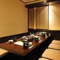 6~8名様に最適でご利用できる掘りごたつ式の完全個室です。宴会・お食事会など様々なシーンでのご利用に最適です。人気席の為、ご予約はお早めがお勧めです。事前の内覧もお気軽にお申し付けください。