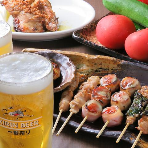 看板メニューの串カツや焼鳥と飲むビールが旨い!!会社帰りや宴会、二軒目遣いに♪