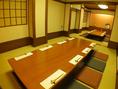 8名様までの個室。しっとりしたくつろぎ空間で美食を愉しむ…。2部屋をつなげると最大16名様までOKの空間に!!