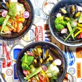料理メニュー写真食べ飲み放題にするとなんと3種のパエリア風鉄板料理がご注文できます!