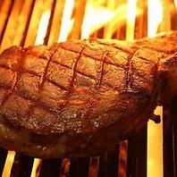 直火焼き熟成肉のステーキ