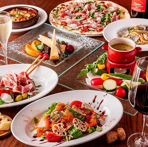 薪窯焼きの薄焼きピッツァとワインが味わえるイタリアンバル