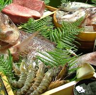 店内水槽の新鮮な魚介