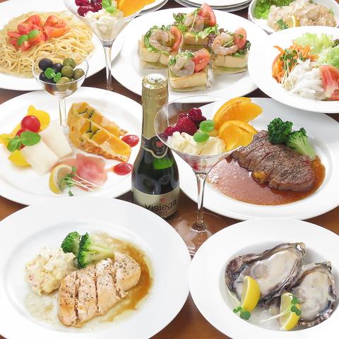 お料理 9品、飲み放題付きコース料理 : 5000円/人