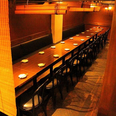 一直線のプライベートスペース確保します。2013有楽町銀座居酒屋ランキングNo.1。