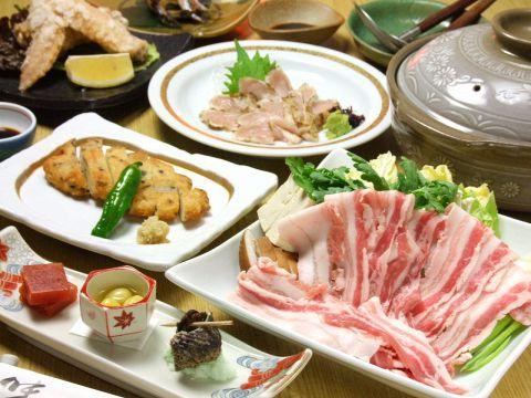 地鶏たたき・黒豚しゃぶしゃぶ含む全6品 鹿児島郷土料理コース 4000円