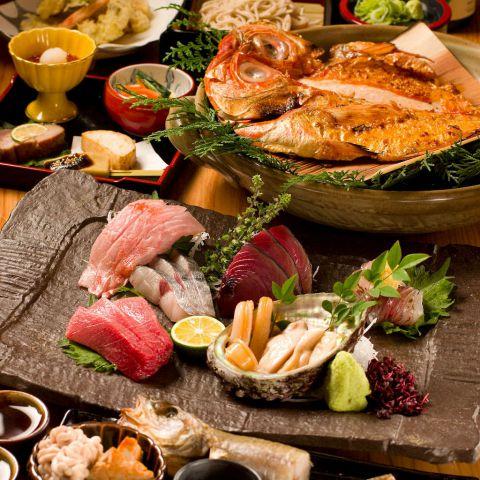 極上素材コース 【飲み放題180分 刺し盛り キンキ炭火焼き 海老と旬魚天ぷら 寿司 蕎麦】