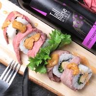 彩り鮮やかなロール寿司を中心に、創作和食の新しい味。