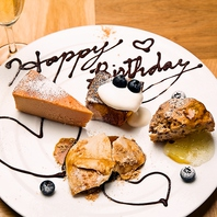 お祝い用のデザートプレート、ホールケーキもご用意♪