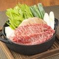 料理メニュー写真霜降り黒毛和牛(A3)すき焼き鍋