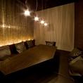 カワイイ照明がオシャレな個室は合コンに人気!自宅みたいにくつろげちゃうほっこり空間です。