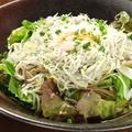 料理メニュー写真釜揚げシラスととろとろ温泉卵のサラダ
