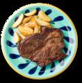 料理メニュー写真がっつりステーキ(なんと300g)