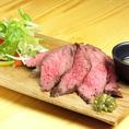 牛肩ロースのステーキ やわらかく仕上げたお肉を是非塩を付けてお召し上がり下さい。