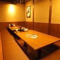 足をのばして寛げる掘りごたつのお席は大人気!送別会や飲み会、女子会等シーンに合わせた各種ご宴会に最適なお席を多数ご用意しております。