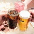 単品飲み放題が1000円!アラカルトとご一緒にご注文頂ける飲み放題メニューとなっています♪生ビールやサワーなど20種類以上のドリンクが飲み放題です!